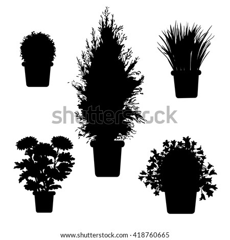 vector set of silhouette plants