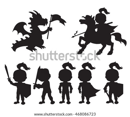 vector set of silhouettes cute