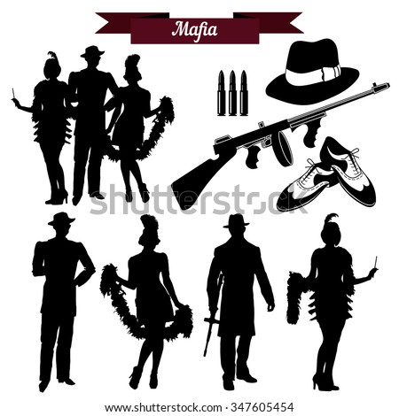 vector set of silhouettes in