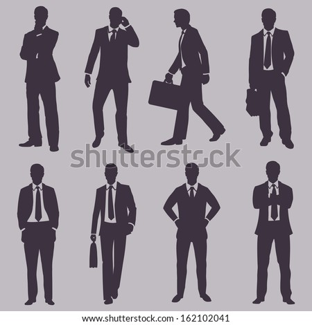 vector set of silhouettes of business people