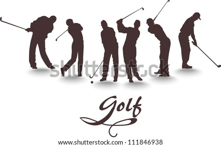 Vector set of silhouettes of golfers