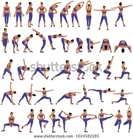 Vector set of sillhouettes of woman doing fitness work out and yoga stretching in different standing poses. Fitness and yoga girl icons isolated on white background.