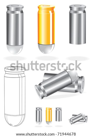 Vector Set of Silver And Gold Bullets