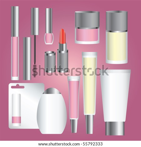 """Vector set of silver cosmetic packages (from my BIG """"Cosmetic and make-up collection"""")"""