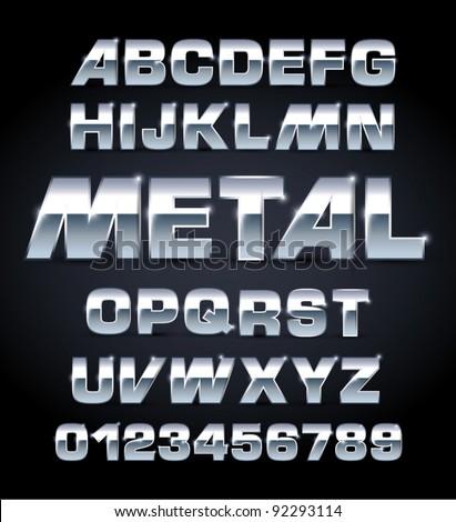 vector set of silver metallic fonts