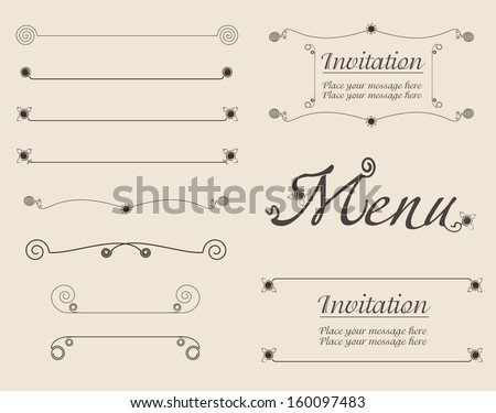 Vector set of simple calligraphic design elements, page dividers and decoration
