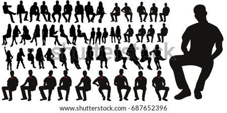 Vector, set of sitting men women silhouettes