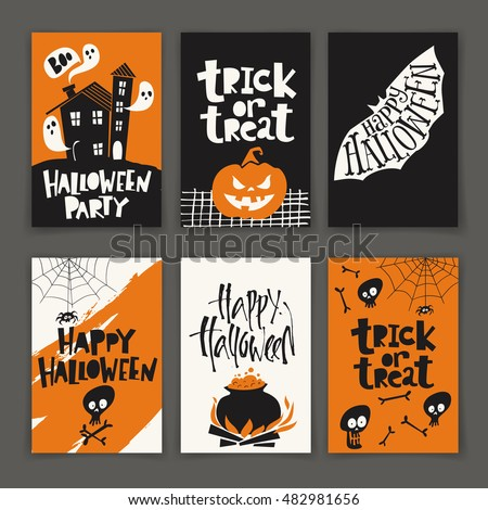 Stock Photo Vector set of six cartoon style Halloween poster designs with halloween symbols and calligraphy. Funny halloween card. Party invitation design.