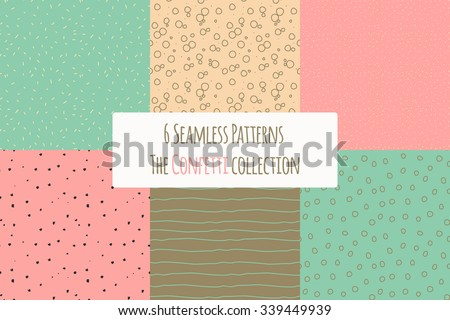 Cute polka dot grunge background download free vector art stock vector set of six seamless hipster patterns sketch backgrounds with waves rings and polka voltagebd Images