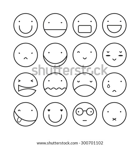 vector set of sixteen smile
