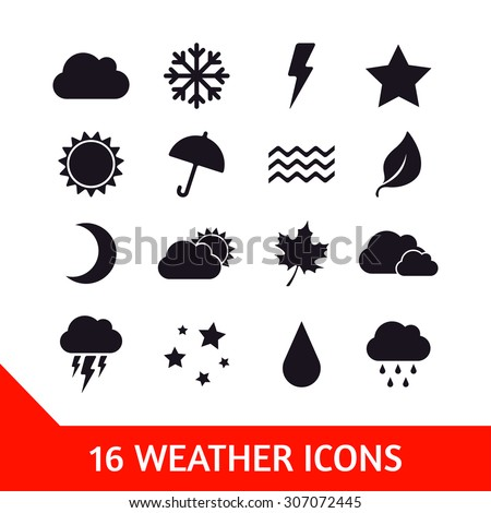 Vector set of sixteen weather icons. Nature illustration
