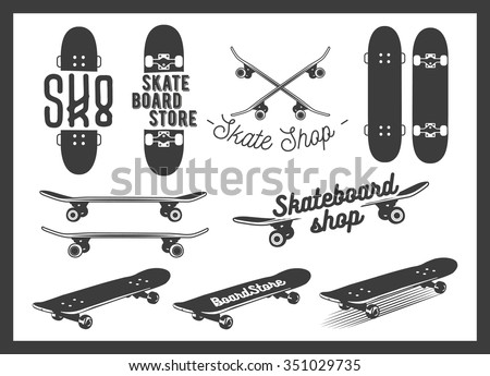 vector set of skateboard
