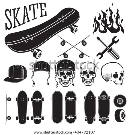 vector set of skateboarding