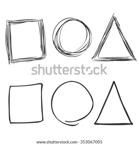 Vector Set of Sketch Abstract Doodles. Square, Circle, Triangle