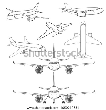 Vector Set of Sketch Airplanes. Civil Aviation Aircrafts. Side, Front, Back and Top View.