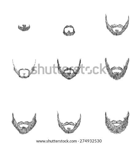 Vector Set of Sketch Beards. Types of Beards ストックフォト ©