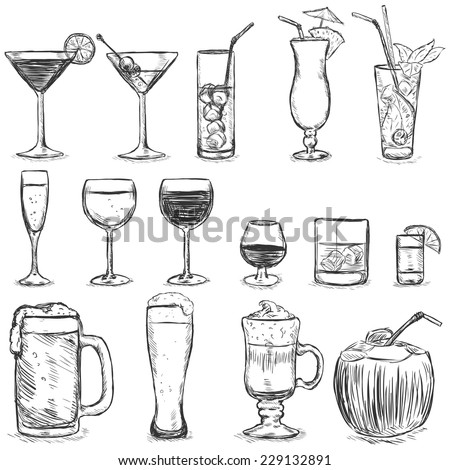 vector set of sketch cocktails