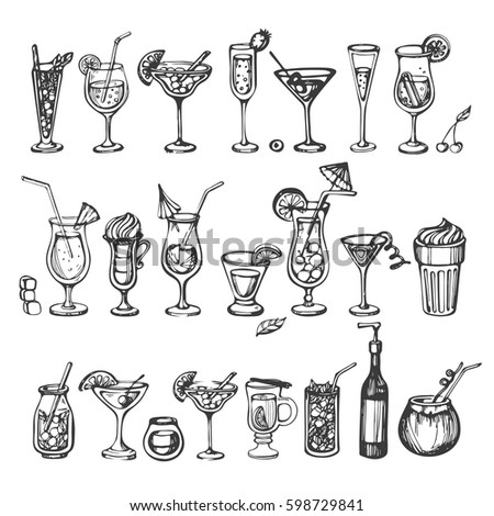 vector set of sketch coctails