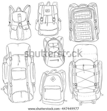 Vector Set of Sketch Doodle Backpacks. Casual Backpack, Fashion Backpack, Hiking Backpack, Sport Backpack, Tactical Backpack.