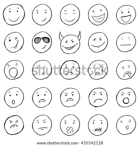 vector set of sketch emoticons