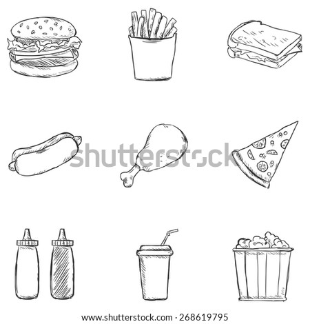 vector set of sketch fast food