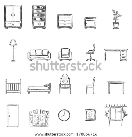 Vector Set Of Sketch Furniture Icons
