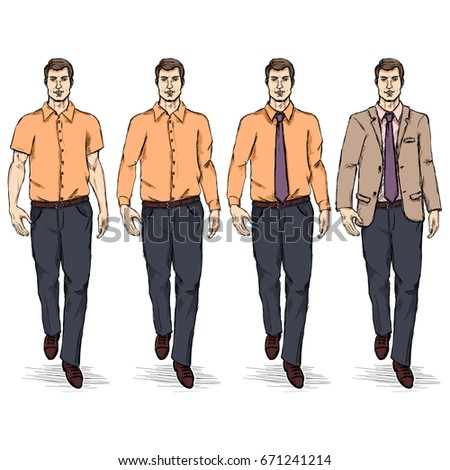 Vector Set of Sketch Men Models. Business Dress Code.