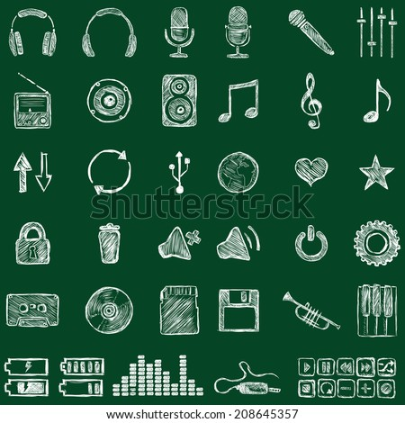 vector set of sketch music