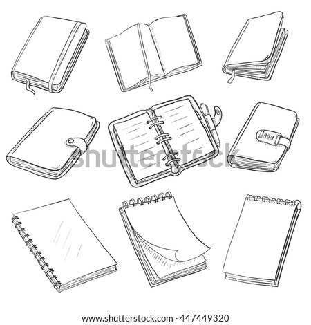 Vector Set of Sketch Notebooks, Notepads and Diaries