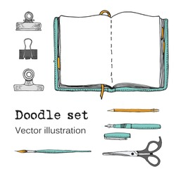 Vector Set of Sketch Notebooks, Notepads and Diaries. Office stuff. Doodle stationery, pen, pencil, scissors. Color hand drawn illustration. Cartoon Design elements for infographic. School