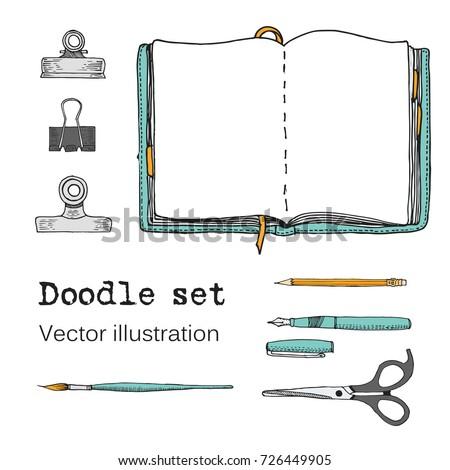 vector set of sketch notebooks