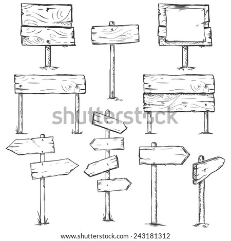 Vector Set of Sketch Signposts #243181312