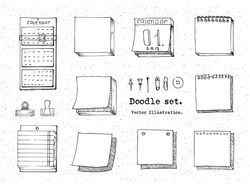Vector Set of Sketch sticky note, paper sheet, pack of paper, calendar, pin, binder. Office stuff. Hand drawn doodle vector illustration. Design elements for infographic, doodle icon.  School