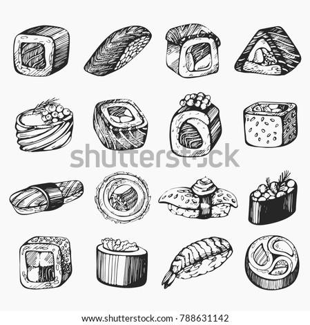 Vector set of sketch sushi illustration
