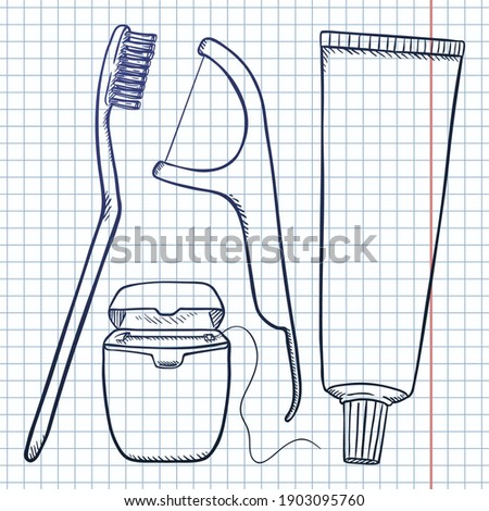 Vector Set of Sketch Tooth Brushing Items. Tooth Brush, Dental Floss, Dentifrice. Photo stock ©