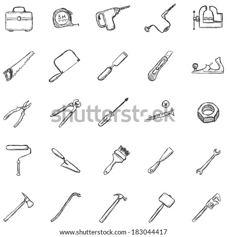 vector set of sketch work tools