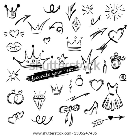 Vector set of sketched elements for decorating text, photo. Princess set: caron, dress, heart, arrow, shoes, rings, lipstick, star and more.- Векторная иллюстрация.