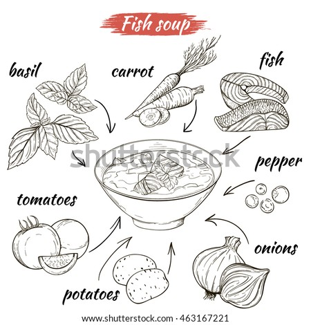 Vector set of sketches of ingredients for fish soup. Linear silhouettes isolated on white background: fish, tomatoes, potatoes, carrots, pepper, basil, onions. Recipe soup.