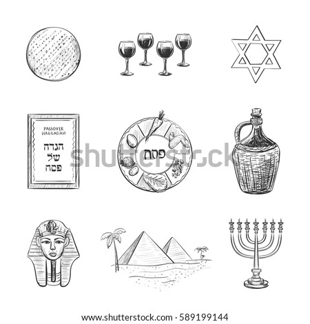 Vector set of sketches on the theme of Passover. Attributes and symbols of the Jewish holiday. Dish Passover, four glasses of wine, matzah, the Haggadah, the Egyptian pyramids