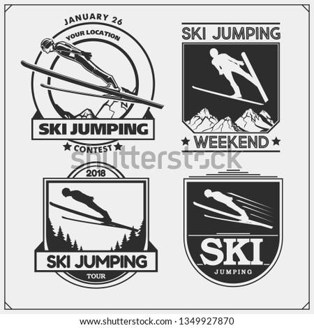 vector set of ski jumping
