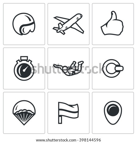vector set of skydiving icons