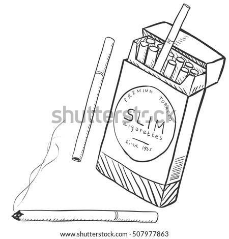 vector set of slim cigarettes