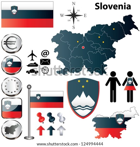 Vector set of Slovenia country shape with flags, buttons and icons isolated on white background