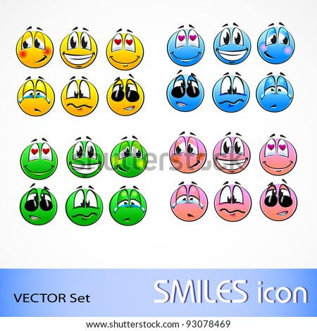 vector set of smile icon in