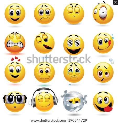 vector set of smiley icons with