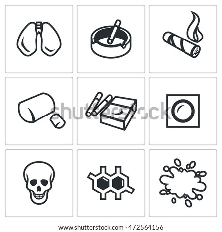vector set of smoke and cancer