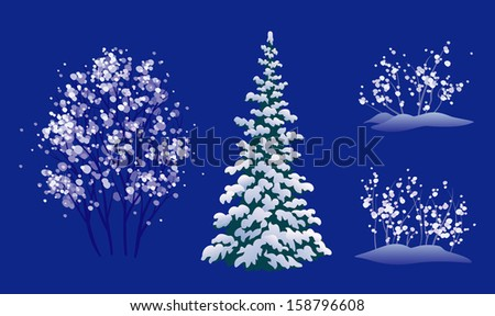 vector set of snow covered