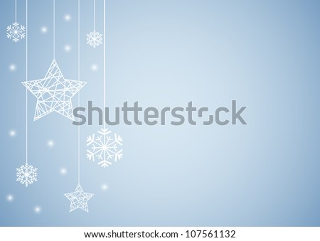 Vector set of snowflakes and stars background