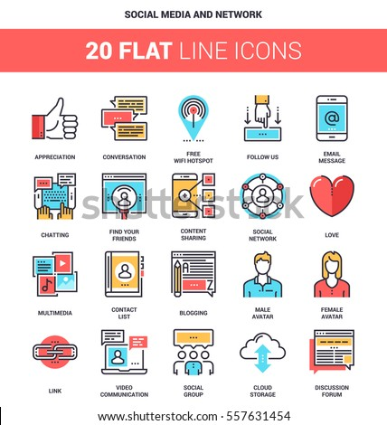 Vector set of social media and network flat line web icons. Each icon with adjustable strokes neatly designed on pixel perfect 64X64 size grid. Fully editable and easy to use