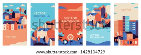 Vector set of social media stories design templates, backgrounds with copy space for text - urban landscapes with buildings and trees - summer backgrounds for banners, greeting cards, posters and adve